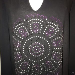 INC International Concepts Tops - Sparkling studded front and sleeves top